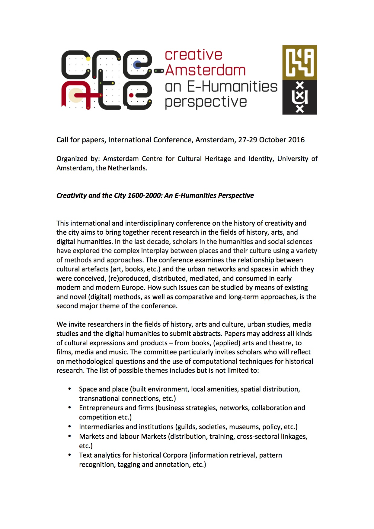 2016 Conference: Creativity and the City 1600-2000  An E-Humanities