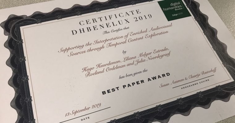Best paper award at DH Benelux 2019 for paper on temporal exploration of audiovisual sources